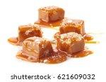 homemade salted caramel pieces... | Shutterstock . vector #621609032