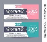 gift voucher template. discount ... | Shutterstock .eps vector #621609728