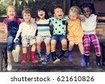 group of kindergarten kids... | Shutterstock . vector #621610826