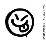 graffiti happy emoji sprayed in ... | Shutterstock .eps vector #621614798