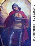 Small photo of ZAGREB, CROATIA - MAY 28: Saint George, altarpiece in the Basilica of the Sacred Heart of Jesus in Zagreb, Croatia on May 28, 2015.