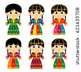 set of girls are wearing an old ... | Shutterstock .eps vector #621635708