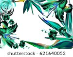 tropical flowers in vintage... | Shutterstock . vector #621640052
