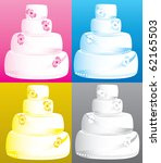 Raster version Illustration of 4 four tier wedding cakes. - stock photo