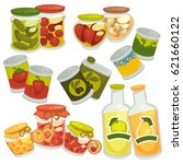 preserved food in jars and... | Shutterstock .eps vector #621660122