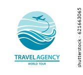 abstract travel logo with... | Shutterstock .eps vector #621663065