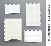 notebook paper with torn edge... | Shutterstock . vector #621663986