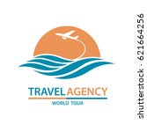 abstract travel logo with... | Shutterstock .eps vector #621664256