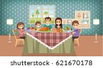 family having meal together ... | Shutterstock .eps vector #621670178
