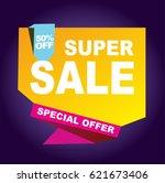 super sale vector banner.  50...   Shutterstock .eps vector #621673406