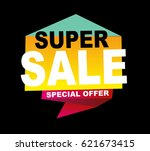 super sale vector banner.  50... | Shutterstock .eps vector #621673415