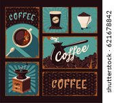 coffeeshop vintage posters... | Shutterstock .eps vector #621678842