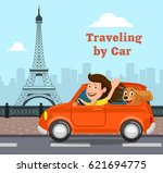 travel on the car  a vector... | Shutterstock .eps vector #621694775