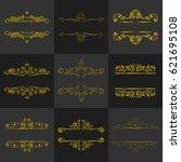 vintage golden antique vector... | Shutterstock .eps vector #621695108