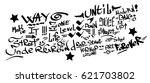 many graffiti tags on a white... | Shutterstock .eps vector #621703802