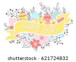 easter typography.happy easter  ... | Shutterstock .eps vector #621724832