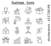 business icon set in thin line... | Shutterstock .eps vector #621728198