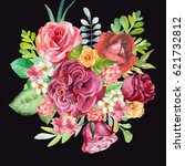 watercolor roses bouquet on... | Shutterstock . vector #621732812