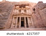 The Treasury at Petra Jordan - stock photo