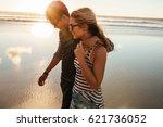 outdoor shot of loving young... | Shutterstock . vector #621736052