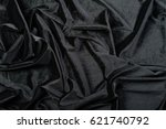 crumpled black satin fabric... | Shutterstock . vector #621740792