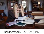 tired young woman student of... | Shutterstock . vector #621742442