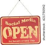 retro social media sign  vector ... | Shutterstock .eps vector #621750542