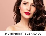 sexy girl with long and shiny... | Shutterstock . vector #621751406