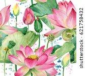 lotus flowers seamless pattern. ... | Shutterstock . vector #621758432