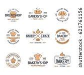 bakery logo set consisting of... | Shutterstock .eps vector #621761156