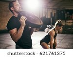 young sportive people having... | Shutterstock . vector #621761375