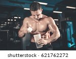 muscular caucasian man on diet... | Shutterstock . vector #621762272