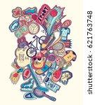 hand drawn doodles sport...   Shutterstock .eps vector #621763748