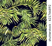 palm leaves seamless pattern.... | Shutterstock . vector #621766892