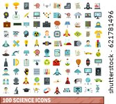 100 experiment icons set in... | Shutterstock .eps vector #621781496