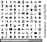 100 south america icons set in... | Shutterstock .eps vector #621781598