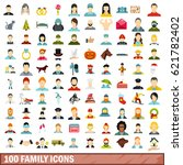 100 family icons set in flat... | Shutterstock .eps vector #621782402