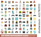 100 home management icons set... | Shutterstock .eps vector #621782552