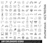 100 childhood icons set in... | Shutterstock .eps vector #621783566