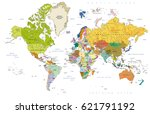 highly detailed political world ... | Shutterstock .eps vector #621791192