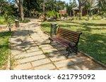 wide cross view of green garden ... | Shutterstock . vector #621795092