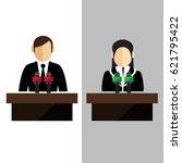 press conference   microphones... | Shutterstock .eps vector #621795422
