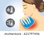 woman relief of shoulder pain... | Shutterstock .eps vector #621797456