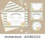 set of invitation wedding card. ... | Shutterstock .eps vector #621801212