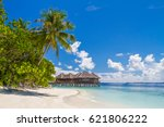maldives beach scene. beautiful ... | Shutterstock . vector #621806222