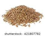 pile of cumin seeds isolated on ... | Shutterstock . vector #621807782
