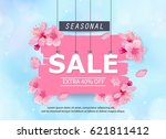 spring sale banner with...   Shutterstock .eps vector #621811412