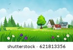 cozy houses on a meadow. summer ... | Shutterstock .eps vector #621813356