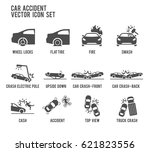 car accident vector icon...   Shutterstock .eps vector #621823556