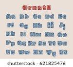 decorative alphabet vector font.... | Shutterstock .eps vector #621825476